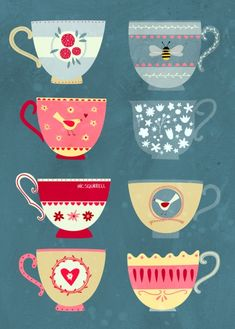 ideas for party illustration tea Art Et Illustration, Food Illustrations, Teapots And Cups, Tea Art, My Cup Of Tea, Kitchen Art, Tea Time, Tea Cups, Arts And Crafts
