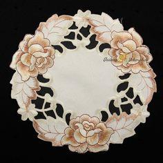 Бронзовые Розы цветы открыть вышивка Таблица Runner скатерть салфетка крем | ибее