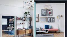 Venstre: Veggseksjonen i stuen heter Veggen de Luxe og er fra Bruksbo. Høyre: Tivolilampen har Vik arvet av besteforeldrene. Den sto på gjesterommet. Bildene er diverse utstillingsplakater og ulike silketrykk i begrenset opplegg fra Bleed Design i Oslo.