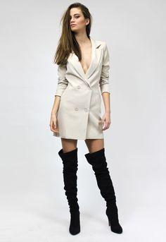 Jordan Tuxedo Dress - BEIGE - Dresses - Lioness Fashion
