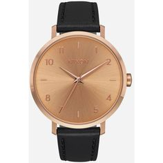 Nixon Arrow Leather Watch (2,680 MXN) ❤ liked on Polyvore featuring jewelry, watches, leather band watches, leather wrist watch, nixon watches, leather watches and leather jewelry