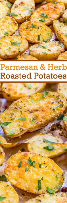 Parmesan and Herb Roasted Potatoes - Easiest potatoes ever and packed with so much flavor! Olive oil, herbs, and everything is better with CHEESE!! A family favorite that everyone loves! Great dinner side dish!