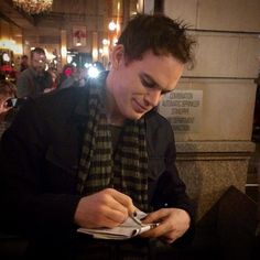 Michael C Hall after staring in the Broadway show, Hedwig and the Angry Inch.  Photo taken by @lillianlalo on Instagram.