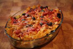 Pasta ovenschotel met tuinbonen en ontbijtspek