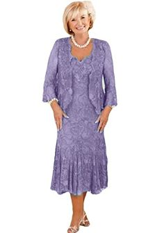 Lace Mother of The Bride Dress with Sleeves Tea Length Lilac Long Mothers Dress, Mother Of The Bride Dresses Long, Mother Of Bride Outfits, Mothers Dresses, Grandma Dress, Mom Dress, Sequin Mesh Dress, Mother Of The Bride Plus Size, Dress Hairstyles