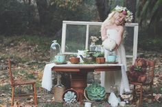 A Succulent Tea Party via Needles + Leaves :: we styled this photo shoot with succulents in a teapot, teacups, mason jars, a bell jar, and t...