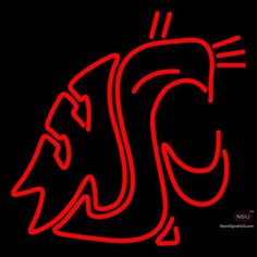 Washington State Cougars Primary  Pres Logo Ncaa Neon Sign