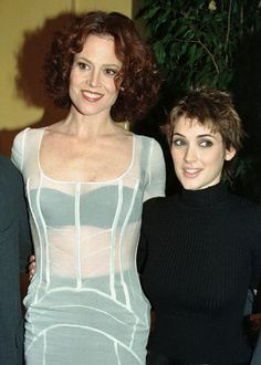 Sigourney Weaver and Winona Ryder — They appeared together in Alien: Resurrection. Famous Celebrities, Beautiful Celebrities, Beautiful People, Celebs, Beautiful Women, Winona Ryder 90s, Johnny And Winona, Sigourney Weaver Young, Winona Forever