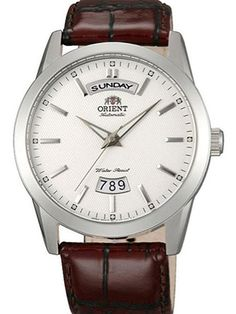 Orient EV0S005W is an elegant dress watch with a textured white dial,l powered by an Orient 21-jewel movement that has both a day and a date feature