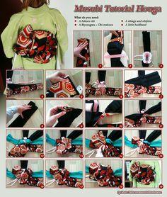 How to tie FUKURO obi (and accessories) into HOUGA musubi, photos/tutorial by Saiyachan @ DeviantArt, ie Linda Kole - orandakitsuke.com