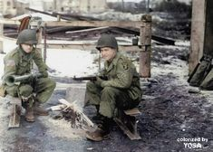 """On this day"", December 31, 1944, Pvt Robert W. Bell (left) and PFC Charles W. McCall (right) - 139th Airborne Engineer Battalion, 17th Airborne Division. Are guarding a road leading to village of Douzy."