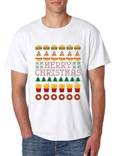 Cool Men's T Shirt With The Print Of Merry Christmas Junk Food. Cool Christmas Funny Gift For The One You Love. Cool Colors And All Sizes Are Available! Next Level Shirt Product Description: - Brand N