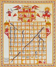 Jain version of the Game of Snakes & Ladders called 'jnana bazi' or 'Gyan bazi,' India, 19th century, Opaque watercolour on cloth.