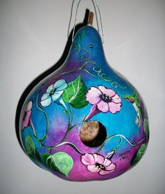 MADE TO ORDER  Gourd Birdhouse 3 Humming by SharonsCustomArtwork, $45.00