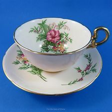 Floral Bouquet with Pink Outside Royal Grafton Tea Cup and Saucer Set