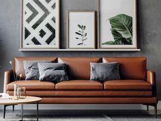 Brown Leather Couch Living Room, Tan Leather Sofas, Grey Walls Living Room, New Living Room, Living Room Furniture, Living Room Decor Brown And Grey, Tan Sofa Living Room Ideas, Leather Sofa Decor, Dark Couch