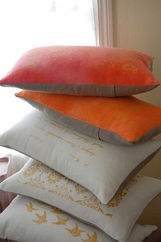 Silk-screened hand-dyed pillows #French #France #Parisian #Paris #home #decor #red grey #gray #white