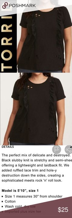 e43afb231 Torrid size 2 black ruffled destroyed t shirt Size 2 from torrid (2x).