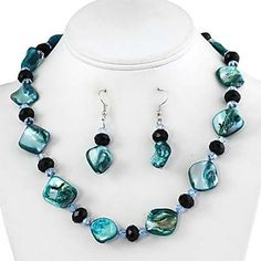 Blue-Green Faux Shell and Crystal Necklace and Earrings Set Fashion Jewelry PammyJ Necklace,http://www.amazon.com/dp/B005KSV1NM/ref=cm_sw_r_pi_dp_4mJWrb9B43F94494