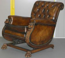 RARE CIRCA 1860 ANTIQUE VICTORIAN CHESTERFIELD ROCKING CHAIR CARVED LION FRAME