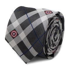 Captain America Gray Plaid Tie | CuffLinks.com