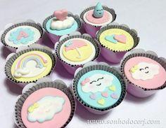 Cupcakes Baby Shower Niño, Unicorn Cupcakes, Sweet Cupcakes, Cupcake Birthday Cake, Rainbow Birthday Party, Unicorn Birthday Parties, Cupcake Cakes, Balloon Cupcakes, Pastel Cakes