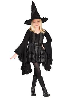 Cast a spell in this Girls Black Witch Costume. This is a unique and stylish costume for young girls.