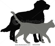 cat and dog silouette