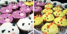 Farm birthday party with animals cupcakes