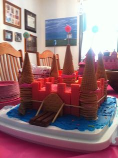 Easy castle cake....strawberry wafers, vanilla Oreos, kit Kat, and ice cream cones.   Seriously easy!