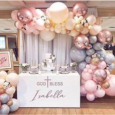 70 Adorable Ideas To Create Balloon Decorations For Baby Shower Baptism Party Decorations, Balloon Decorations, Baby Shower Decorations, Balloon Ideas, Communion Decorations, Girl Baptism Party, Christening Party, Baby Girl Christening, Balloon Garland