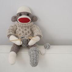 A knitting sock monkey