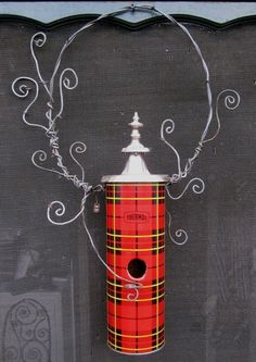 Upcycled vintage thermos birdhouse!  http://www.scoop.it/t/flea-market-garden-style/p/2901629440/whimsical-plaid-thermos-birdhouse