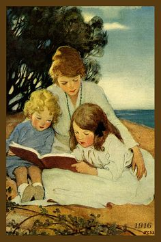 Quilt Block of 1916 painting of Mother and Children Reading by Jessie Willcox Smith printed on cotton. Ready to sew.  Single 4x6 block $4.95. Set of 4 blocks with pattern $17.95.