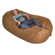 Eight Foot Oval Earth Brown Microfiber And Memory Foam Bean Bag    Overstock™ Shopping   Big Discounts On Bean U0026 Lounge Bags
