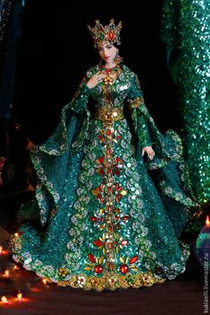 Купить Кукла Хозяйка медной горы - болотный, зеленый, хозяйка медной горы, кукла