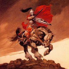 "#FrankFrazetta ""Outlaw of Torn"" •1973• ••••••••••••••••••••••••••••••••••••••••• #Frazetta #FantasyArt #Knight #Medieval #Horse #Painting #Art #OilPainting #70s"