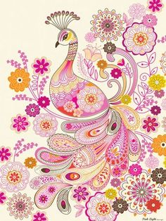 This adorable Paisley Peacock Art Canvas by Oopsy Daisy Fine Art for Kids is a great way to showcase your love for animals in a fresh and modern way. Doodle Inspiration, Painting Inspiration, Logo Inspiration, Bird Canvas, Canvas Wall Art, Paisley Design, Paisley Pattern, Peacock Art, Pink Peacock