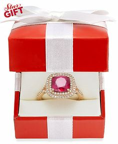 Rosa by EFFY 14k Rose Gold Ruby (3-1/8 ct. t.w.) and Diamond (1/3 ct. t.w.) Ring $999