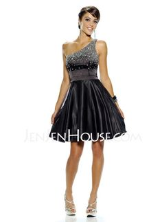 Homecoming Dresses - $128.99 - A-Line/Princess One-Shoulder Short/Mini Charmeuse Homecoming Dresses With Beading (022010005) http://jenjenhouse.com/A-line-Princess-One-shoulder-Short-Mini-Charmeuse-Homecoming-Dresses-With-Beading-022010005-g10005