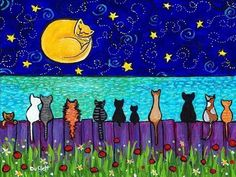 """SMALL PRINT: """"Full Moon Cats"""" by Artist Shelagh Duffett 10 cats of different colours and textures sit on a fence and gaze at the full moon, which is also a cat. Description from pinterest.com. I searched for this on bing.com/images"""