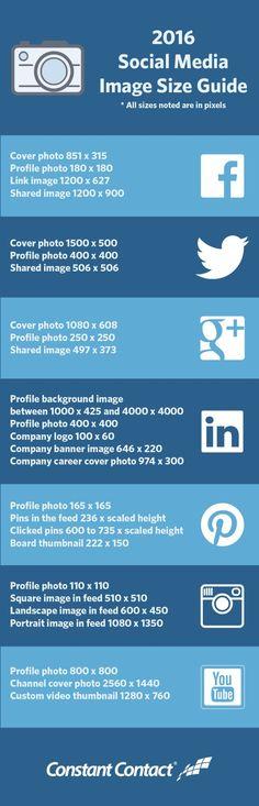 Tamaños actualizados de las  imagenes de las principales redes sociales. #infografía