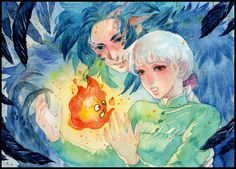 Howls Moving Castle fan art I love this anime so much! The lovely and magically anime that you must to be watching <3 It's so touching T _ T ------- My commission info: Open 7 Slots Water...