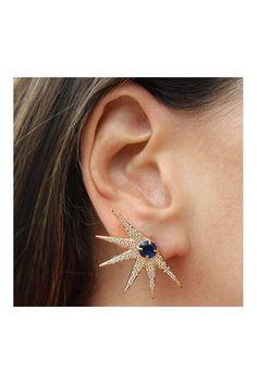 Brinco ear cuff cometa azul safira semi joia
