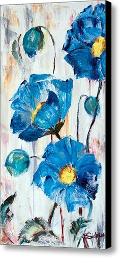Blue Poppies Canvas Print / Canvas Art by Sharon Sieben