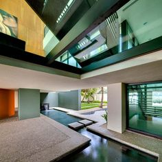 Interior Design, Amazing Indoor Pond In Modern House Landscape Architects Angular Water Feature Pool That Drags The Outside In: Lovely Water. Indoor Pond, Indoor Water Garden, Water Gardens, House Furniture Design, House Design, Design Fonte, Modern Water Feature, Indoor Water Features, Pond Design