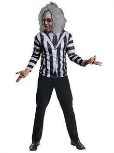 Adult Beetlejuice Costume Kit (STD) - PartyBell.com Costumes For Teens, Pet Costumes, Adult Costumes, Beetlejuice Makeup, Beetlejuice Costume, Spooky Halloween Costumes, Halloween 2018, Costume Collection, Dress Up