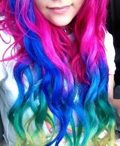 Pink, Blue, Green & Yellow Hair✶ #Hair #Colorful_Hair #Dyed_Hair