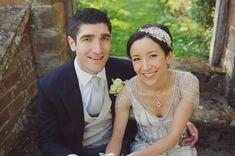 Bride wears headdress by Jenny Packham    Photography by http://www.rebeccadouglas.co.uk/