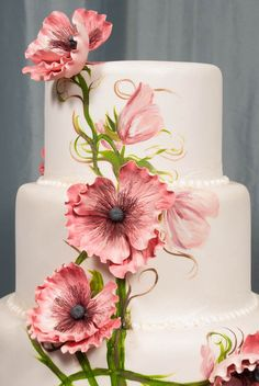 COM - ‪Beautiful work by an amazing cake artist! Bakell products are the leading choice for Cake Artist Professionals, Crafters and Cake Artist Enthusiasts alike for everything confectionery decorating! Creative Wedding Cakes, Beautiful Wedding Cakes, Gorgeous Cakes, Pretty Cakes, Creative Cakes, Amazing Cakes, Bolo Floral, Floral Cake, Hand Painted Cakes